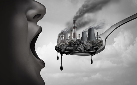Concept of pollution and toxic pollutants inside the human body and eating contaminated food as an open mouth ingesting industrial toxins or climate change affects on the body with 3D illustration elements.