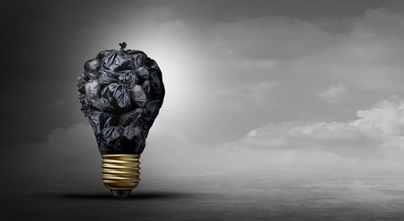 Pollution idea concept and toxic pollutants as garbage shaped as a light bulb representing industrial or household waste or climate change affects on the environment with 3D illustration elements.
