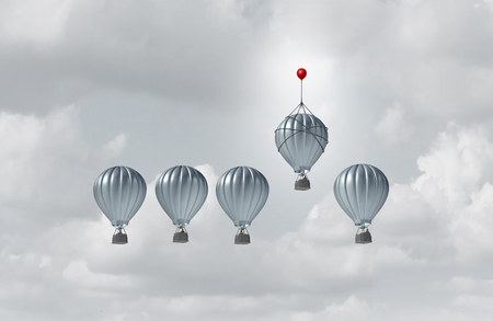 Business competitive advantage success and corporate edge concept as a group of hot air balloons racing to the top but an individual leader with a small balloon winning the competition as a 3D illustration. Stock Photo