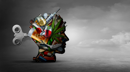 Drogensucht und geistige Funktion bei der Verwendung von alkoholischen verschreibungspflichtigen Medikamenten als psychiatrisches oder psychiatrisches Konzept der Auswirkungen auf das Gehirn mit Erholungs- oder Medikamenten mit 3D-Illustrationselementen.