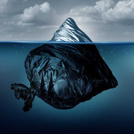 Trash iceberg as a garbage bag iceberg in the ocean or polluted sea as an environmental symbol for global pollution in a 3D illustration style.