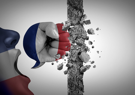Protest in France as an angry political demonstrator demonstrating against french government policy as a symbol of a public riot or national election speech in a 3D illustration style. Stok Fotoğraf - 119265648