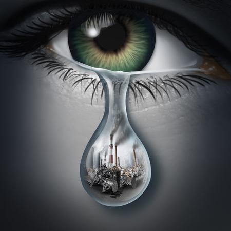 Anxiété climatique et dépression environnementale et maladie en tant que trouble de santé mentale causé par la peur du réchauffement climatique ou des sentiments et de la détresse émotionnelle pour la pollution de l'environnement avec des éléments d'illustration 3D.