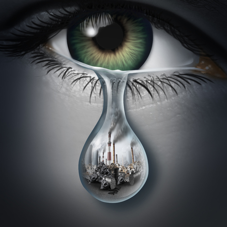 Climate anxiety and environmental depression and disease as a mental health disorder caused by the fear of global warming or feelings and emotional distress for polluting of the environment with 3D illustration elements. Stockfoto