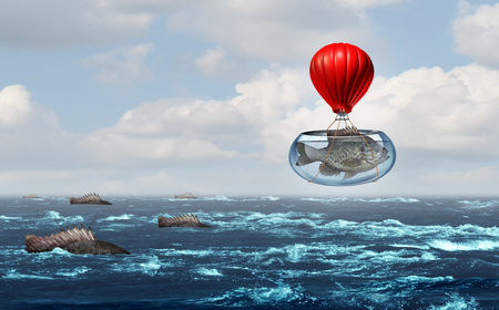 Business metaphor and corporate concept for innovation with an individual from a group choosing a new way to succeed with 3D elements.