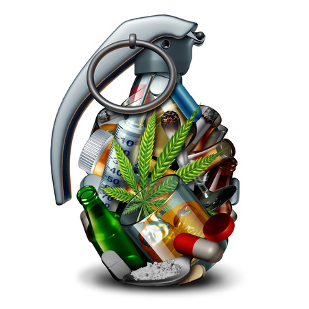 Drug addiction danger and the addictive substances as heroin cocaine alcohol tobacco and opioid pills shaped as an explosive grenade bomb as a 3D illustration.