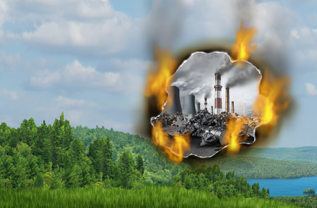Danger of Climate change and global warming concept as a burning hole with a polluted dirty industrial background destroying the fragile green natural landscape with clean air and water with 3D illustration elements. Фото со стока
