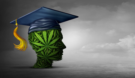 Cannabis education and student marijuana use at school or learning about weed or the social issue of getting high in college and drugs on campus with 3D illustration elements.