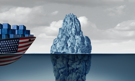 United States economic danger as a trade risk and American business fear as a cargo ship facing a hazardous iceberg as an import and exports industry concept as a 3D illustration.