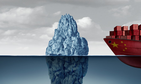 China economic risk as trade danger and Chinese business fear as a cargo ship facing a hazardous iceberg as an import and exports industry concept as a 3D illustration.