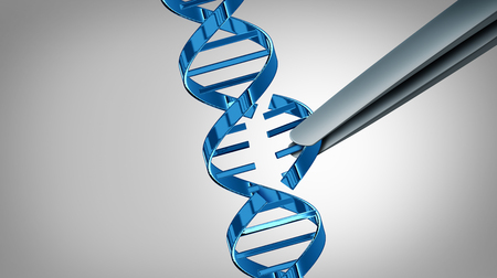 CRISPR gene edit concept and genetic engineering with therapy on a DNA strand as a 3D illustration. Stock Photo
