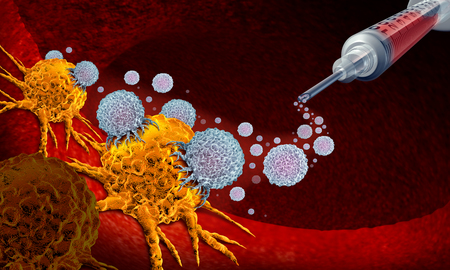 Vaccine for cancer as oncology treatment concept using immunotherapy with with cells from the human body as a 3D illustration.