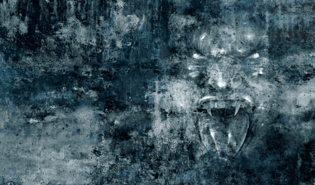Horror monster Demon face abstract grunge background as a fear concept as a screaming cruel zombie or vampire representing anxiety emotion and being afraid psychology in a 3D illustration style.