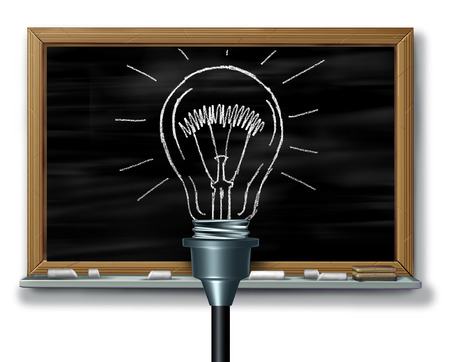 Innovate idea and creative solutions on a blackboard in school as a 3D illustration.