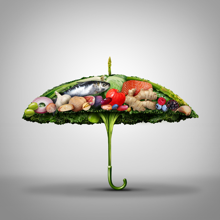 Healthy food disease prevention and nutrition protection as nutritious food shaped as an umbrella avoiding illness for a strong immune system by eating natural ingredients as broccoli salmon nuts with 3D illustration elements.