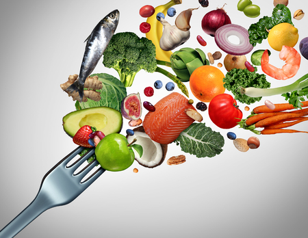 Eating healthy food and eat clean symbol as fresh raw ingredients bursting out of a dinner fork with 3D illustration elements. Stok Fotoğraf