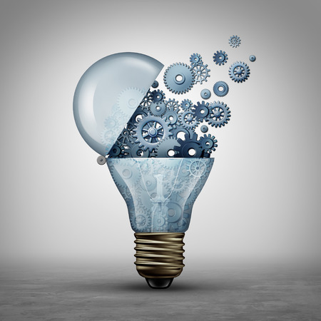 Creative technology concept and communication ideas as an open door light bulb tranfering gears and cogs as a  business success metaphor for downloading or uploading innovation solutions as a 3D illustration.