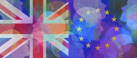UK and European Union flag with human silhouettes. Фото со стока