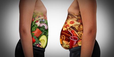Choix de la nutrition des enfants en mangeant une alimentation malsaine ou des aliments sains comme vue latérale d'un enfant gras et normal avec l'estomac fabriqué à partir de malbouffe ou d'ingrédients de santé en tant que problème de régime médical pour les jeunes avec des éléments d'illustration 3D.