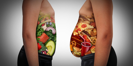 Child nutrition choice eating unhealthy diet or healthy food as a side view of a fat and normal kid with the stomach made from junk food or health ingredients as a youth medical dieting issue with 3D illustration elements.