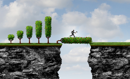 Investing for future business as a no pain no gain metaphor as an entrepreneur businessman chopping down a profit tree to form a bridge for new career or financial gain as a leveraging symbol with 3D illustration elements.
