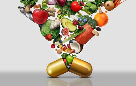 Integratore alimentare vitaminico come capsula con frutta verdura noci e fagioli all'interno di una pillola nutritiva come trattamento sanitario di medicina naturale con elementi illustrativi 3D.