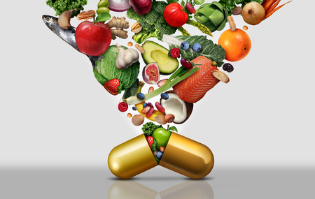 Vitamine-voedingssupplement als capsule met fruitgroenten, noten en bonen in een voedingspil als een natuurlijke gezondheidsbehandeling met 3D-illustratie-elementen.