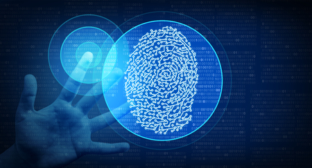 Biometric Identity as a fingerprint scan cybernetic technology concept in a 3D illustration style.