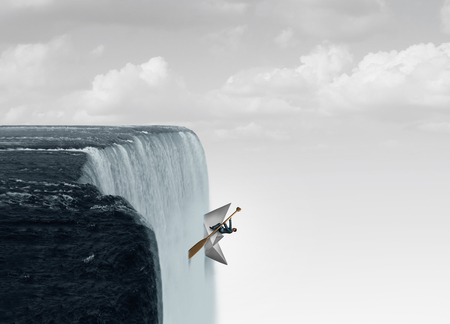 Against the flow business concept as a metaphor for swimming upstream against the current as a symbol for determination and courage to go opposite of the mainstream with 3D illustration elements. Banco de Imagens