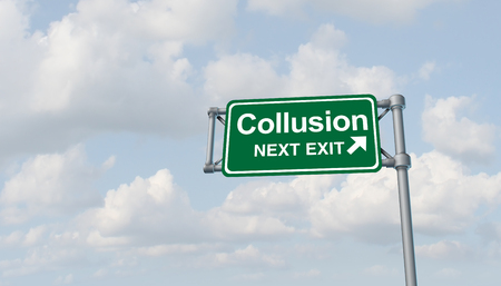Collusion and obstruction antitrust conspiracy concept of justice concept and political influence or illegaly influencing the legal system for an unfair advantage with 3D illustration elements.