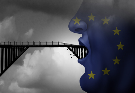 Europe immigration ban concept showing european with a closed mouth blocking a bridge as a traveling restriction metaphor for Euro travel and restrictive migration policy with 3D illustration elements. Stock fotó
