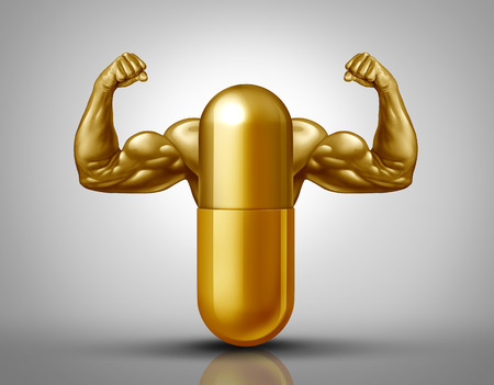 Power vitamin supplement and sport nutrition pill as a natural bodybuilding or fitness nutrient capsule with muscle biceps inside a pharmaceutical medication with 3D illustration elements.