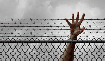 Ban on immigration and refugee restriction social issue and government migration policy as banned newcomers treaspassing or blocked international migrants on a border fence with 3D illustration elements. Stock Photo