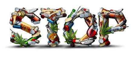 Ningún ícono de adicción a las drogas y detener las drogas como un problema de salud que representa los peligros y el riesgo de fumar, beber alcohol y una sobredosis de medicamentos como opioides como una ilustración 3D. Foto de archivo