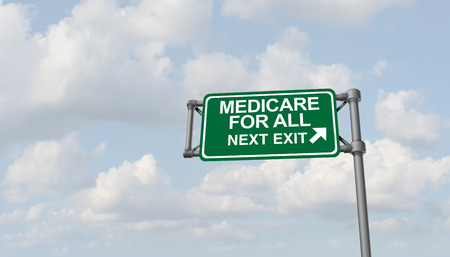 Medicare for all national health insurance concept as a political social policy as a 3D illustration.