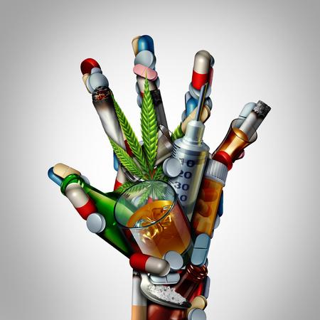 Detenga el icono de adicción a las drogas o no a las drogas como un problema de salud que representa los peligros y el riesgo de fumar, beber alcohol y sobredosis de medicamentos como opioides como una ilustración 3D
