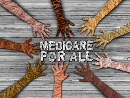 Medicare insurance for all national health government social policy concept as a political issues in a 3D illustration style Imagens