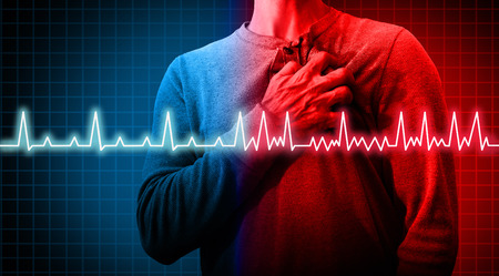 Heart disorder and atrial fibrillation ecg as a coronary cardiac attack with irregular and normal organ rythm as a chest discomfort disease concept with a person suffering from a circulation illness in a 3D illustration style.