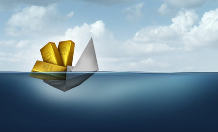 Risk of wealth and financial management or managing investments as a paper boat sinking due to poor finance organization strategy with 3D illustration elements.