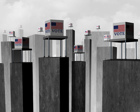 Vote suppression and suppressed voter election concept as a difficult access to the ballot box representing disenfranchised electorat as a 3D illustration. Stock Illustration - 122856195
