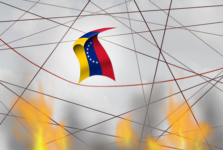 Venezuela political crisis and uncertain Venezuelan national situation as uncertainty in Caracas as a flag of the south american country in a 3D illustration style. Imagens