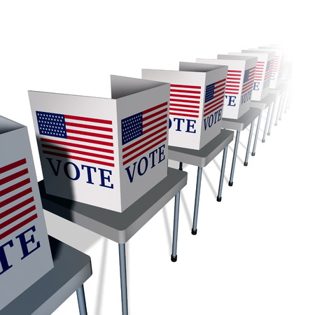 USA vote and United States voting as a polling place with voter booths for an American presidential or government election for senate or congress as an icon for democracy on white as a 3D illustration.
