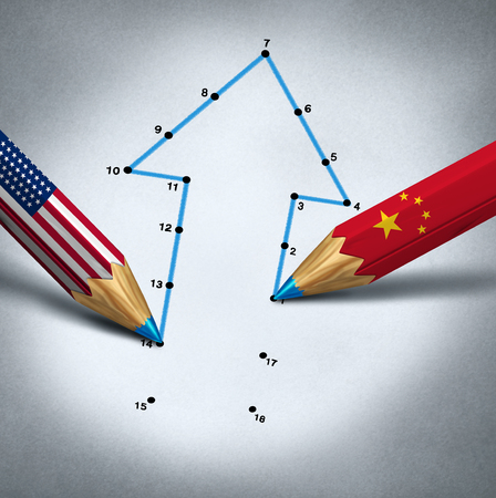 United States China partnership and global business connection success and economic trade agreement or financial treaty and industry partnership between Chinese and American government as a 3D illustration. Reklamní fotografie
