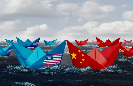 China United States trade tariffs USA trade and American tariffs conflict with two opposing trading partners as an economic import and exports dispute concept in a 3D illustration style.