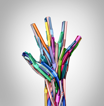 Stop Plastic straws and plastics ban as a hand representing stopping pollution and eliminating garbage as a restaurant straw prohibition environmental concept as a 3D illustration.