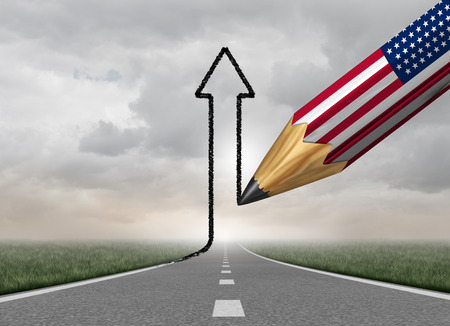 United States business Success direction and successful economic planning symbol as a pencil drawing an upward 3D illustration arrow from a straight road as a symbol for the growing American jobs economy.