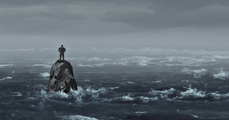 Business despair concept as a stranded businessman lost at sea standing on an isolated rock as a corporate idea for financial crisis or being lost and needing career or financial help to escape in a 3D illustration style. Stock Photo