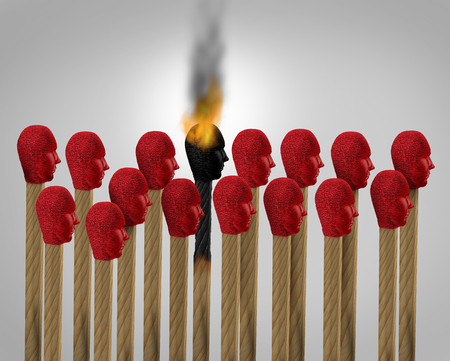 Career burnout and business burn out as an overworked burnt from exhaustion as a match icon of an employee exhausted with job stress as a work concept for overloaded workers as a 3D illustration.