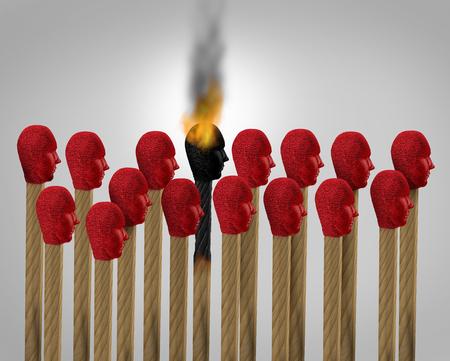 Il burnout di carriera e il business si esauriscono come un sovraccarico di lavoro bruciato dall'esaurimento come icona di corrispondenza di un dipendente esausto per lo stress da lavoro come concetto di lavoro per lavoratori sovraccarichi come illustrazione 3D.