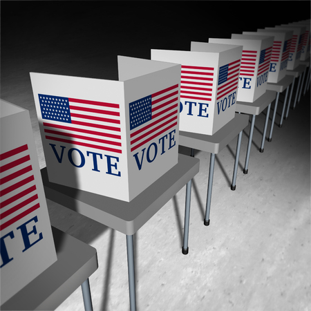 United States vote as a voting polling place with voter booths for an American presidential or government election for senate or congress as an icon for democratic or democracy in the USA as a 3D illustration. Imagens